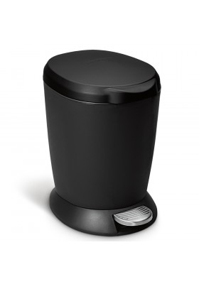 6L ROUND PLASTIC BIN W/STEEL PEDAL - BLACK