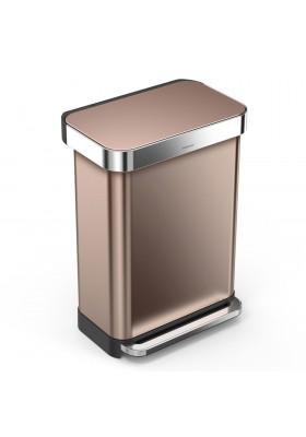 55L RECTANGULAR PEDAL BIN W/ LINER POCKET - ROSE GOLD S/STEEL
