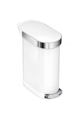 45L SLIM PEDAL BIN - WHITE STAINLESS STEEL
