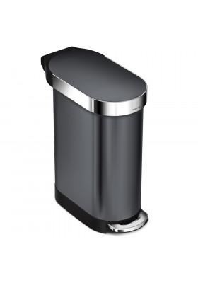 45L SLIM PEDAL BIN - BLACK STAINLESS STEEL