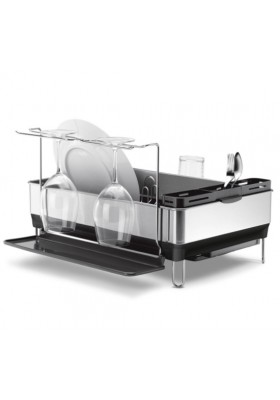 SimpleHuman - Steel Frame Dish Rack With Wine Glass Rack