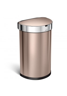 45L SEMI-ROUND SENSOR BIN - ROSE GOLD STAINLESS STEEL