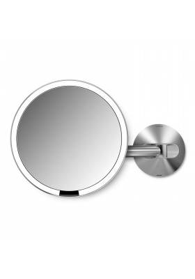20cm WALL MOUNT SENSOR MIRROR - 5X MAG - RECHARGEABLE - BRUSHED STEEL