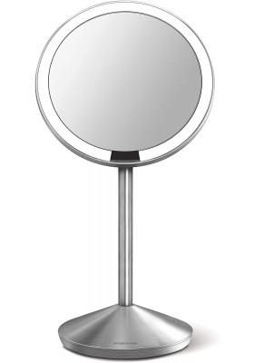13cm MINI SENSOR MIRROR W/ TRAVEL CASE - 10x MAG - RECHARGEABLE - BRUSHED S/STEEL