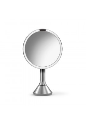 20cm SENSOR MIRROR - TOUCH CONTROL BRIGHTNESS - 5X MAG - RECHARGEABLE - BRUSHED S/STEEL