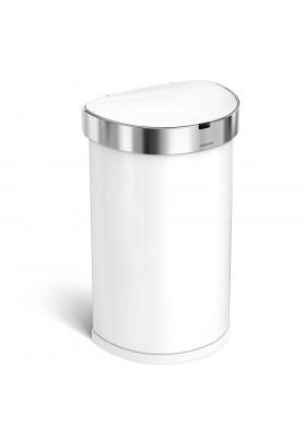 Simplehuman 45L Semi-Round Sensor Bin - White/Stainless Steel