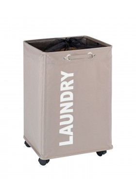 WENKO - Quadro Laundry Basket - Taupe 79L