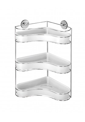 WENKO - Vacuum-Loc 3-Tier Corner Rack Milazzo - No Drilling Required