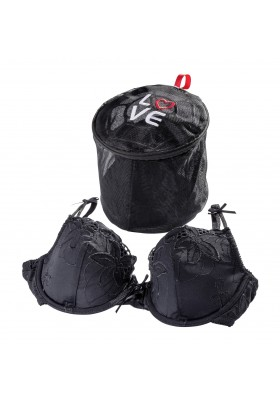 Wenko - Bra Wash Laundry Net Bag Ø 16 Cm - Love - Black