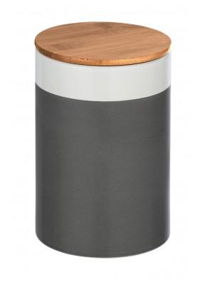 Wenko - Malta Ceramic Storage Container - Bamboo Lid -  Grey/White - 1.45L