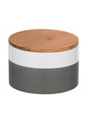 Wenko - Malta Ceramic Storage Container - Bamboo Lid -  Grey/White - 750Ml