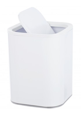 Wenko - Swing Cover Bin - Oria Range - White & Clear - 7L