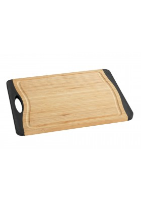 Wenko - Cutting Board Bamboo - 33X23 - Anti-Slip Tpe - Black