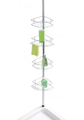 Wenko - Telescopic Shower Corner 4-Level Shelf - Dolcedo Model - S/Steel