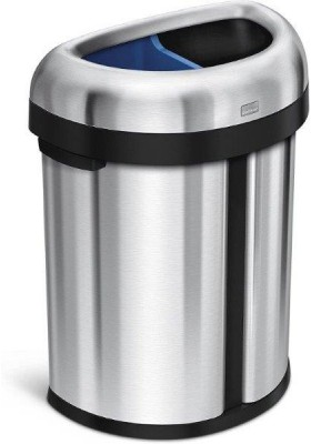 SIMPLE HUMAN - 66L (33L/33L) Dual Compartment Semi-Round Open Recycler Bin