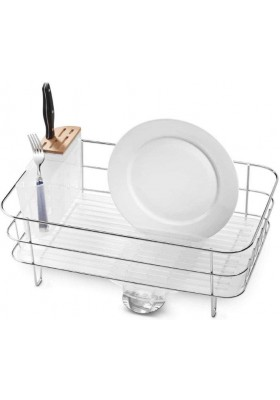 SIMPLE HUMAN - Dishrack - Slim Wireframe - S/Steel - Frosted Plastic Base