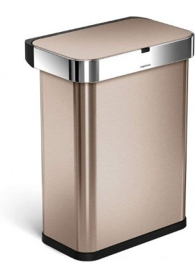 58L RECTANGULAR SENSOR BIN V2 - VOICE / MOTION CONTROL - ROSE GOLD S/STEEL