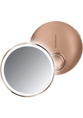 SIMPLE HUMAN - 10Cm Sensor Mirror Compact -3X Magnification- Rose Gold S/S