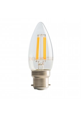 Filament Candle B22, 4W, 470LM Warm White, 2700K Non-Dimmable Lamp