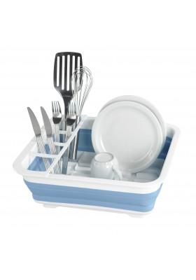 Wenko - Dish Rack Foldable Silicone  - White/Blue