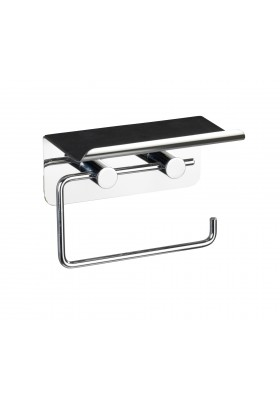 TOILET PAPER HOLDER WITH SHELF -  STAINLESS STEEL