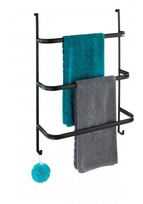 3-BAR OVER-DOOR TOWEL RAIL - IRPINIA - MATTE BLACK STEEL