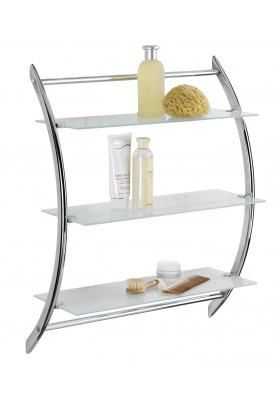 3-SHELF WALL RACK - EXCLUSIVE VERMONT RANGE - CHROME & GLASS  57x71 x22