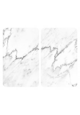 HOB COVER PLATES - 2PC UNIVERSAL MARBLE-EFFECT TEMPERED GLASS - 30x52cm