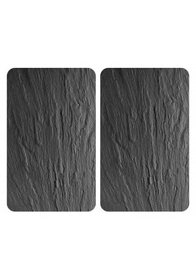 HOB COVER PLATES - 2PC UNIVERSAL SLATE-EFFECT TEMPERED GLASS - 30x52cm