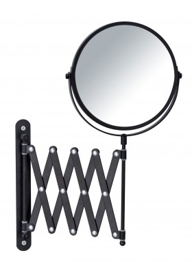 COSMETIC WALL MIRROR WITH TELESCOPIC ARM - EXCLUSIVE MODEL - BLACK