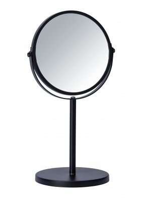 STANDING DOUBLE SIDED COSMETIC MIRROR - 3X MAG - ASSISI MODEL - BLACK