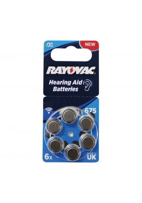 SIZE 675 HEARING AID BATTERIES (6 PACK)