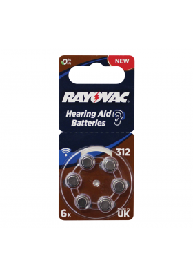 SIZE 312 HEARING AID BATTERIES (6 PACK)