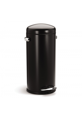 30L RETRO PEDAL BIN - BLACK S/STEEL