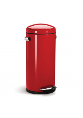 30L RETRO PEDAL BIN - RED S/ STEEL