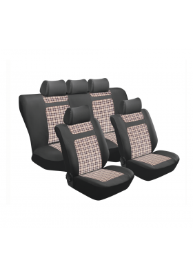 TARTAN BEIGE GINGHAM 11PC SEAT COVER SET SA150