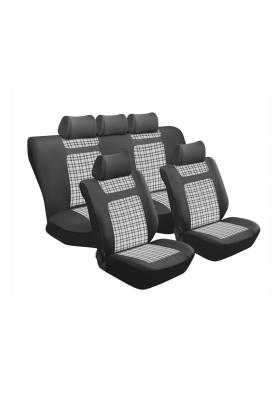 TARTAN GREY GINGHAM 11PC SEAT COVER SET SA151