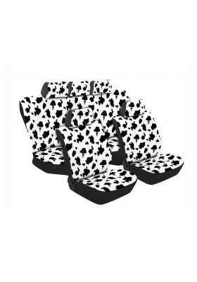 TEXAS COW PRINT 11PC SET WHITE/BLACK SA180