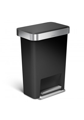 45L PLASTIC RECTANGULAR PEDAL BIN - STEEL TRIM - BLACK