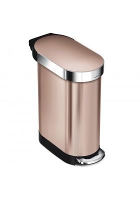 45L SLIM PEDAL BIN - ROSE GOLD STAINLESS STEEL