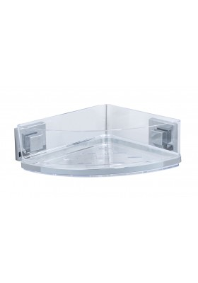 WENKO - Vacuum-Loc Corner Shelf Quadro Range - S/Steel - No Drilling