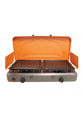 DOUBLE BURNER STOVE W/ SOLID PLATES