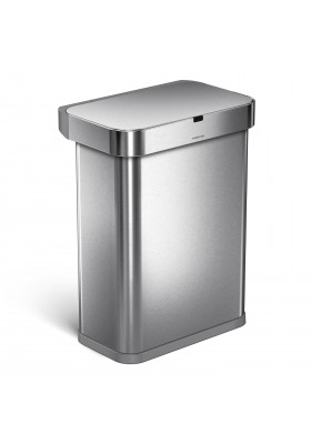 58L RECTANGULAR SENSOR BIN - VOICE / MOTION CONTROL - S/STEEL