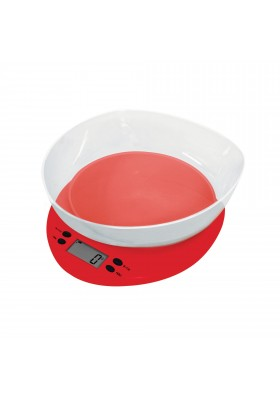 CASA KITCHEN SCALE W/ CLEAR BOWL - FRESCO RED