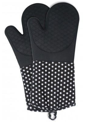 Wenko - Oven Gloves Silicone 2 Pcs - Black W/ White Dots