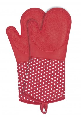 Wenko - Oven Gloves Silicone 2 Pcs - Red W/ White Dots