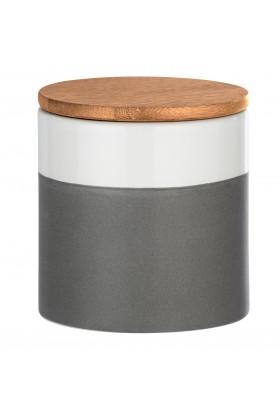 Wenko - Malta Ceramic Storage Container - Bamboo Lid -  Grey/White - 450Ml