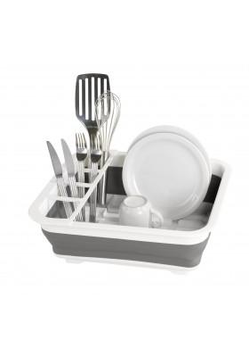 Wenko - Dish Rack Foldable Silicone - 36X13X31 - White/Grey