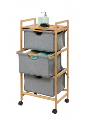 Wenko - Laundry Trolley - 3 Drawer - Bahari Range - Bamboo Grey