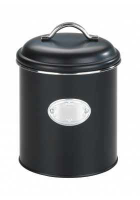 Wenko -Nero Airtight Retro Metal Storage Jar - Black - 1.6L